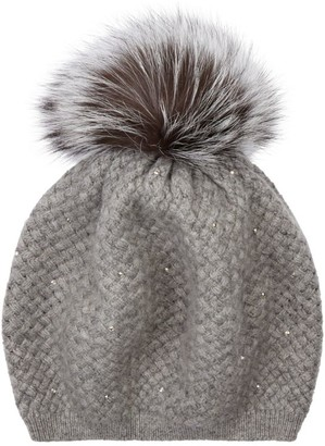 William Sharp Cashmere Crystal Pom-Pom Hat