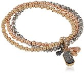 "Kenneth Cole New York Ice Caves Delicates"" Mixed Multi-Charm Tri Tone Faceted Bead Delicate Stretch Bracelet"