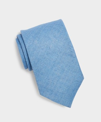 Drakes Textured Linen Tie in Light Blue