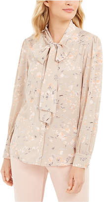 Calvin Klein Tie-Neck Floral Button-Up Blouse