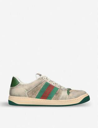Gucci Virtus GG distressed leather and textile trainers
