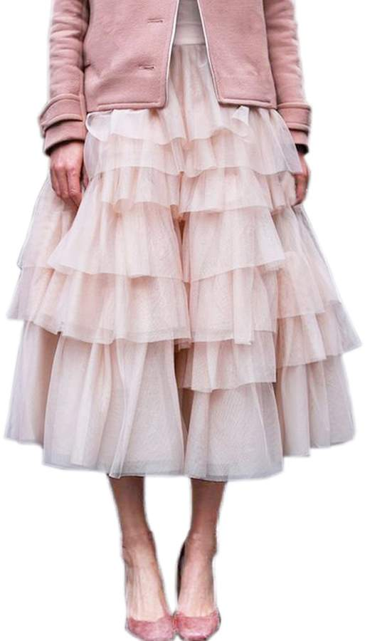 Lisong Women Layers Tulle Ruffles Skirt Prom Party Dress US 12