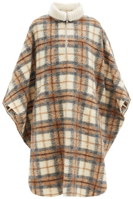 Etoile Isabel Marant Gabin Roll-neck Checked Wool-blend Cape Coat - Beige Multi