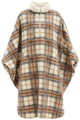 Etoile Isabel Marant Gabin Roll-neck Checked Wool-blend Cape Coat - Beige Multi
