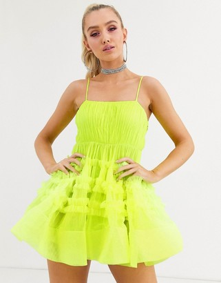 Lace & Beads structured tulle mini dress with built in bodysuit in neon lime-Yellow
