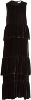 Raey Tiered-ruffle velvet dress