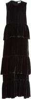Raey Tiered ruffled velvet dress