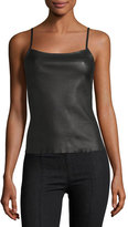 Helmut Lang Leather Spaghetti Strap Tank Top, Black