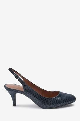 Next Womens Navy Almond Toe Slingbacks - Blue