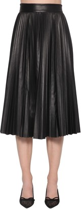 RED Valentino Pleated A-line Leather Midi Skirt