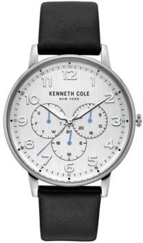 Kenneth Cole New York Men's Dress Sport Black Leather Strap Watch 42mm