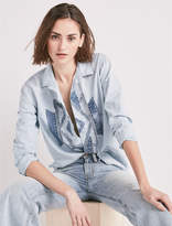 Lucky Brand Customized Chambray Shirt With Blue Deco Patch