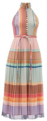 Zimmermann Halterneck Striped Pleated Silk-crepe Midi Dress - Multi