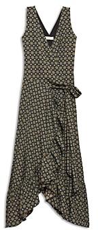 Tory Burch Printed Ruffle Wrap Midi Dress