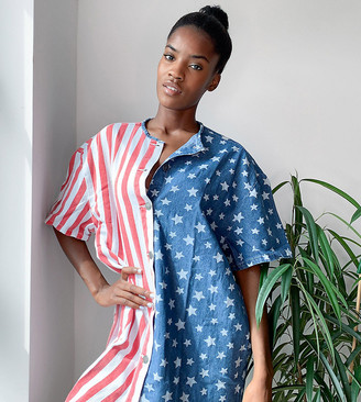 One Above Another oversized shirt dress in usa flag denim