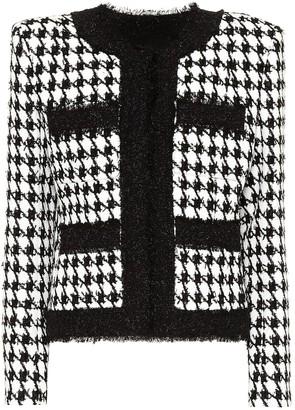 Balmain Houndstooth cotton-blend tweed jacket