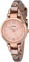 Fossil Women's Georgia ES3425 Rose- Leather Quartz Watch