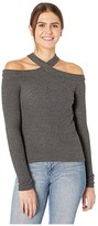 1 STATE 1.State 1.STATE Long Sleeve High Neck Cold-Shoulder Cozy Top (Medium Heather Grey) Women's Sweater