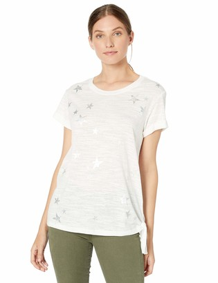 Democracy Women's Short Sleeve Tee with Star Graphic and Side Knot