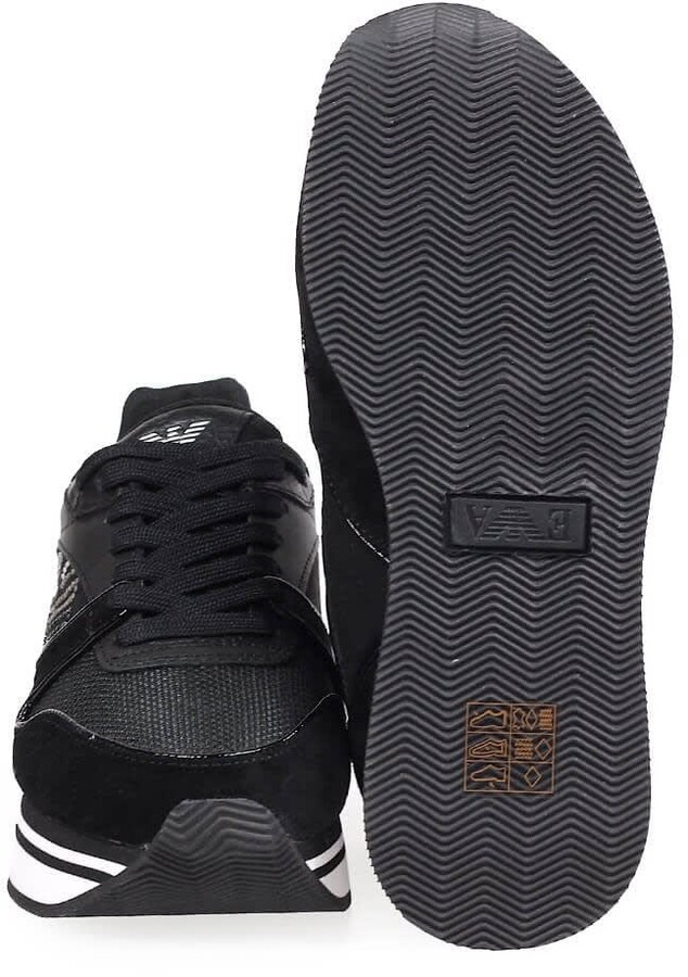 Thumbnail for your product : Emporio Armani Black Platform Sneaker With Rhinestones