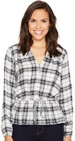 Romeo & Juliet Couture Long Sleeve Plaid Top