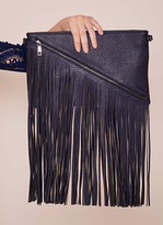 Missy Empire Harlow Navy Tassel Detail Leather Clutch