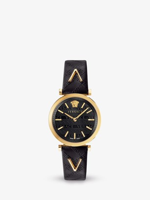 Versace VELS00619 Women's Twist Leather Strap Watch, Black/Gold