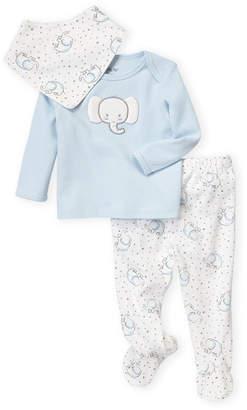 Little Me Newborn/Infant Boys) 3-Piece Elephant Long Sleeve Top & Footie Pants Set