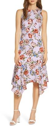Maggy London Floral Print Charmeuse Midi Dress
