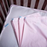 QuickZip, the Faster Safer Easier Crib Sheet, 100% Cotton, 3 Zip-On Sheets + 1 Wraparound Total Security Base, in Pink