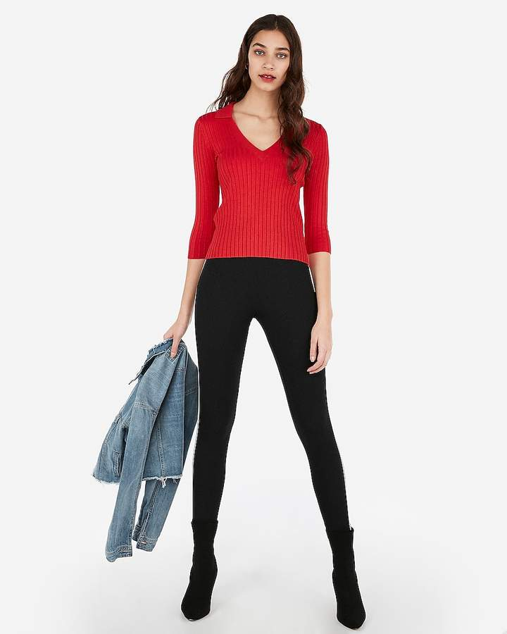 Express Ribbed Fitted V-Neck Sweater