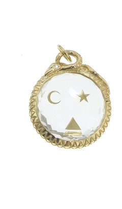 Foundrae Large Sealed Quartz Wholeness Medallion in Yellow Gold