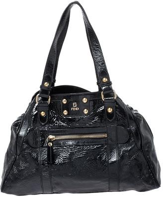 Fendi Black Patent Leather Front Pocket Satchel