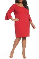 Alex Evenings Plus Size Women's Bell Sleeve Sheath Dress
