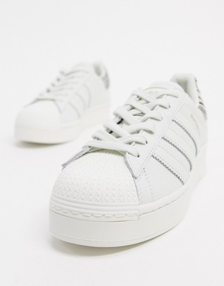 adidas Superstar Bold platform sneakers in white and animal