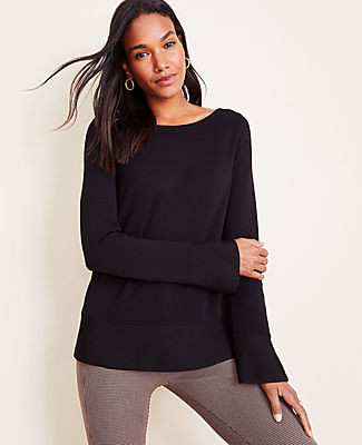 Ann Taylor Petite Shimmer Trim Flare Sleeve Sweater