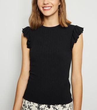 New Look Frill Sleeve Ribbed T-Shirt