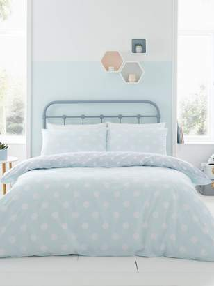 Catherine Lansfield Large Polka Dot Duvet Cover Set - Duck Egg