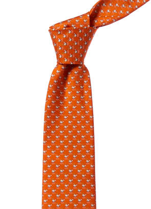 Salvatore Ferragamo Orange Whales Silk Tie