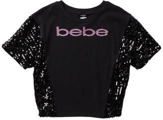 Bebe Sequin Mesh Sleeve Jersey Top (Big Girls)