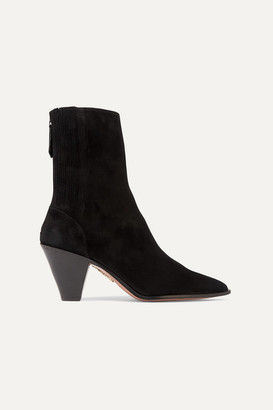 Aquazzura Saint Honore 70 Suede Sock Boots - Black