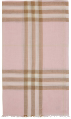 Burberry Pink and Beige Gauze Giant Check Scarf