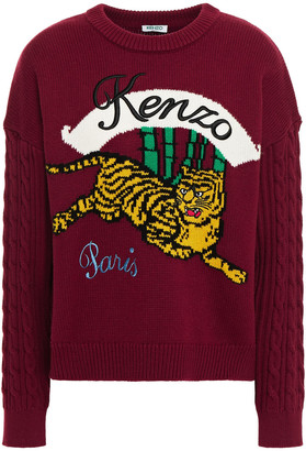 Kenzo Paneled Cable-knit And Intarsia Wool-blend Sweater