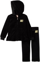 Juicy Couture Ruffle Bottom Velour Hoodie & Pant Set (Toddler Girls)