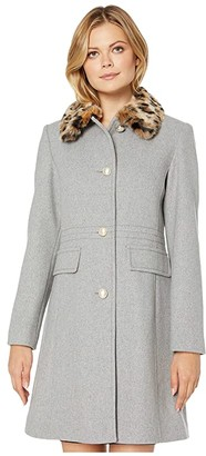 Kate Spade Leopard Collar Wool Trench (Heather Grey) Women's Clothing