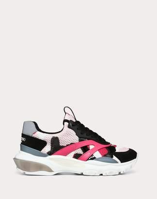 Valentino Garavani Vltn Camouflage Low-top Bounce Sneaker Women Bright Fuchsia Cotton 63%, Polyester 28%, Linen 9% 36.5