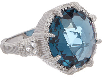 Judith Ripka Eclipse Silver 15.32 Ct. Tw. London Blue Spinel Ring