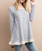 Jane Denim Floral Ruffle French Terry Tunic