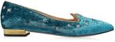 Charlotte Olympia Mid-Century Kitty Hydrogen Blue Velvet Pointy Flat