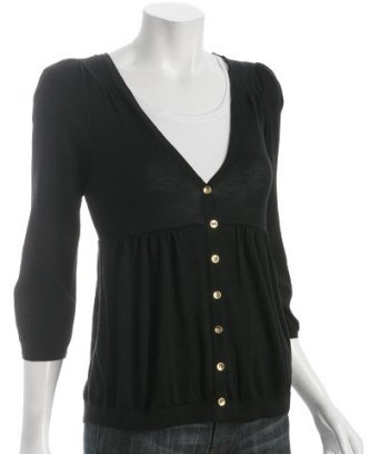 Juicy Couture black cotton ¾ sleeve v-neck cardigan
